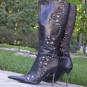 ALDO Black Boots, Size 7 with Studded Detailing.